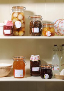 Full assortment of Kilner jars, bottles, and canning accessories