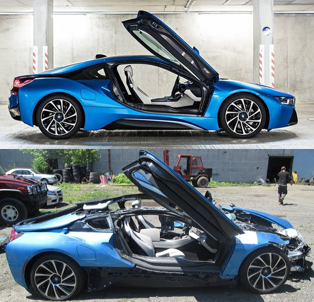 BMW i8 Wreck Crash Total Cement Truck