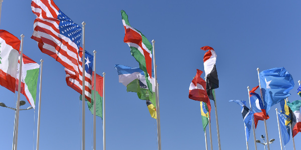 multiple country flags fly in the wind representing the challenge of international employee benefits