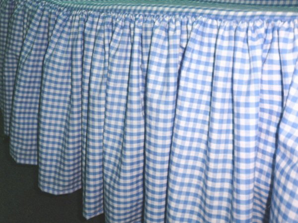Blue Gingham Check Bedskirt In All Sizes From Twin To Cal
