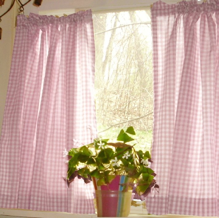 Light Pink Gingham KitchenCaf Curtain Unlined Or With White Or Blackout Lining In Many Custom