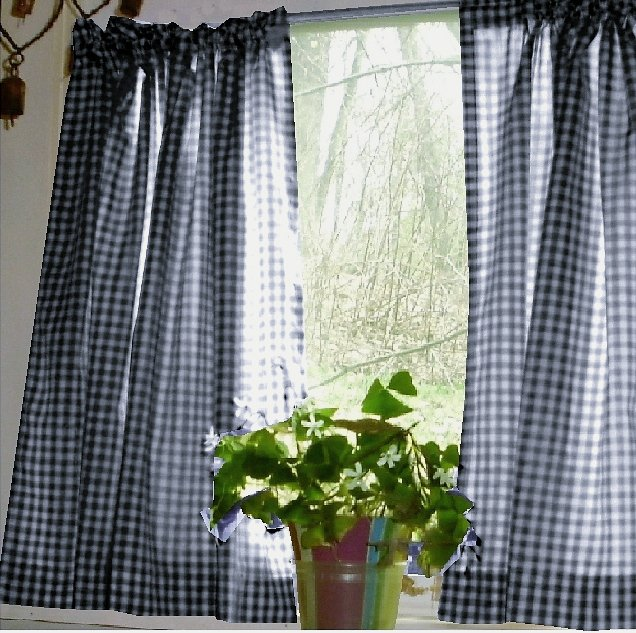 Navy Blue Gingham KitchenCaf Curtain Unlined Or With White Or Blackout Lining In Many Custom