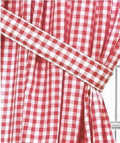 Red Gingham Check Window Long Curtain Available In Many Lengths And With Or Without White Or
