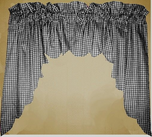 Black Scalloped Window Swag Valance With White Lining Optional Center Piece Available