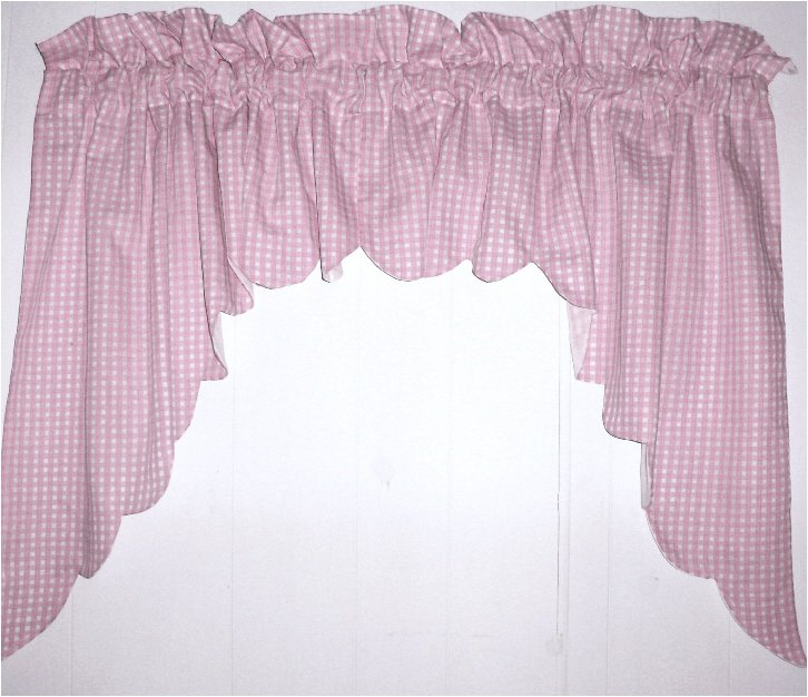 Light Pink Scalloped Window Swag Valance With White Lining Optional Center Piece Available