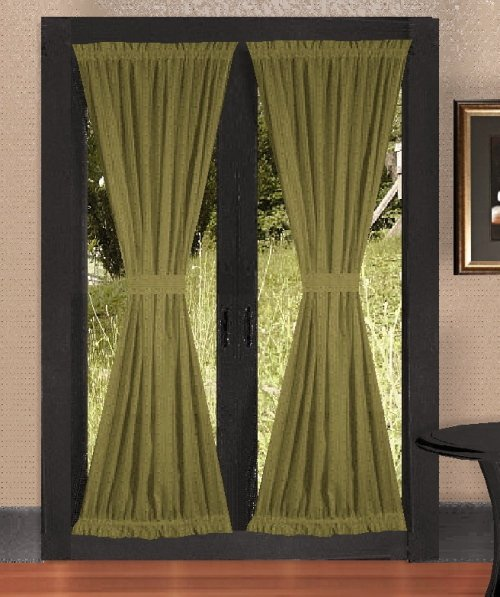 solid olive green colored french door curtain available in many lengths