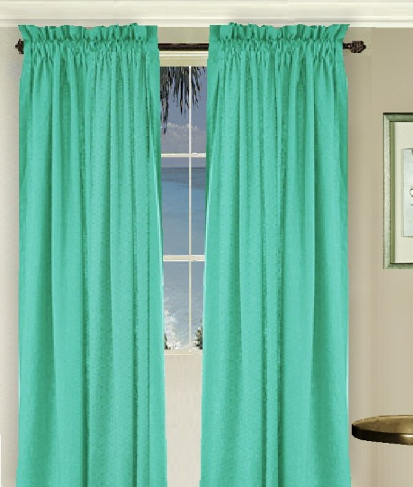 Solid Jade Green Colored Long Window Curtain Available In Many Lengths And 3 Rod Pocket Sizes