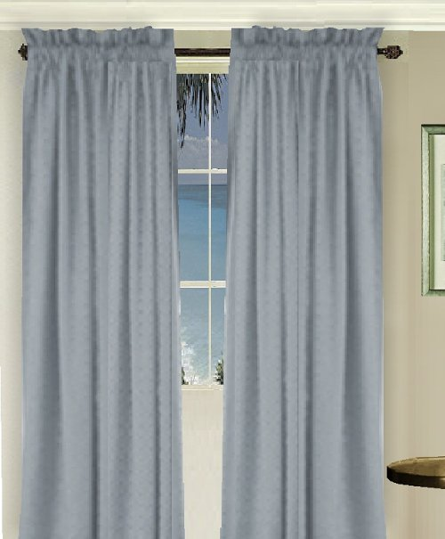 Solid Wedgewood Blue Colored Long Window Curtain Available In Many Lengths And 3 Rod Pocket Sizes