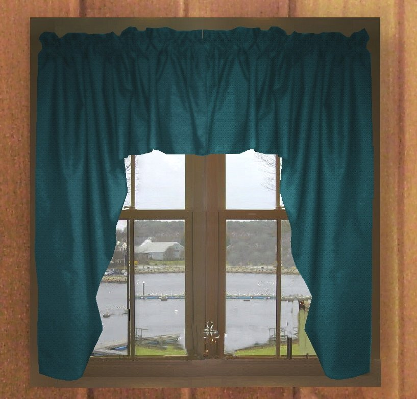Solid Dark Teal Colored Swag Window Valance Optional