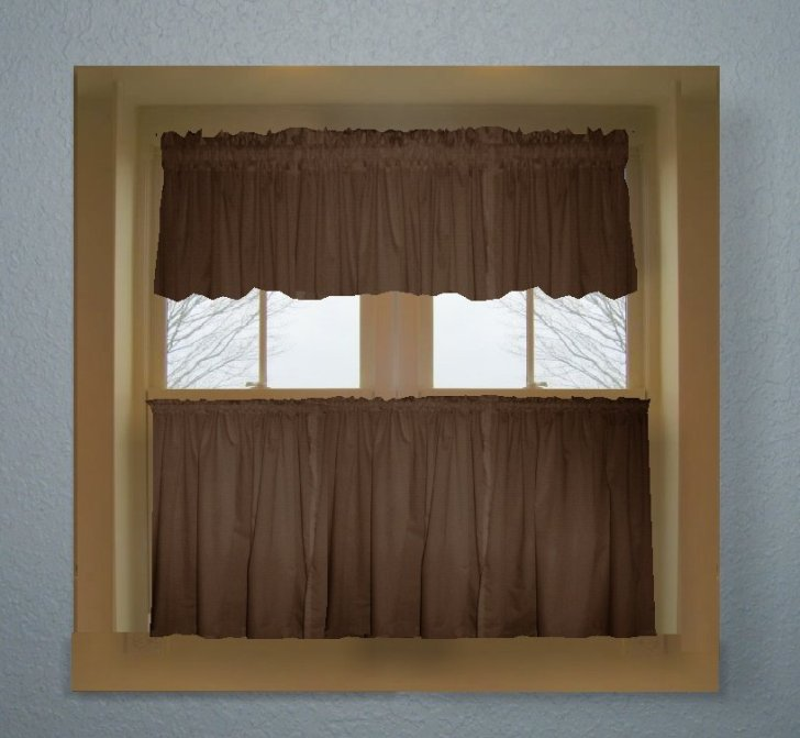 Home Curtains Solid Brown Colored Kitchen Curtain Only Valance