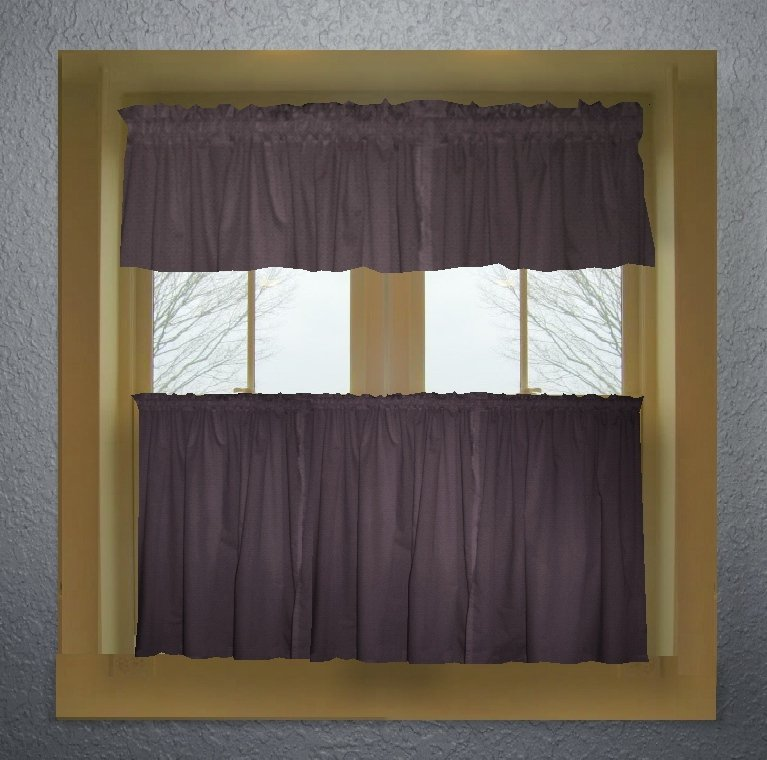 Solid Eggplant Purple Colored Caf Style Curtain Includes 2 Valances And 2 Kitchen Curtain
