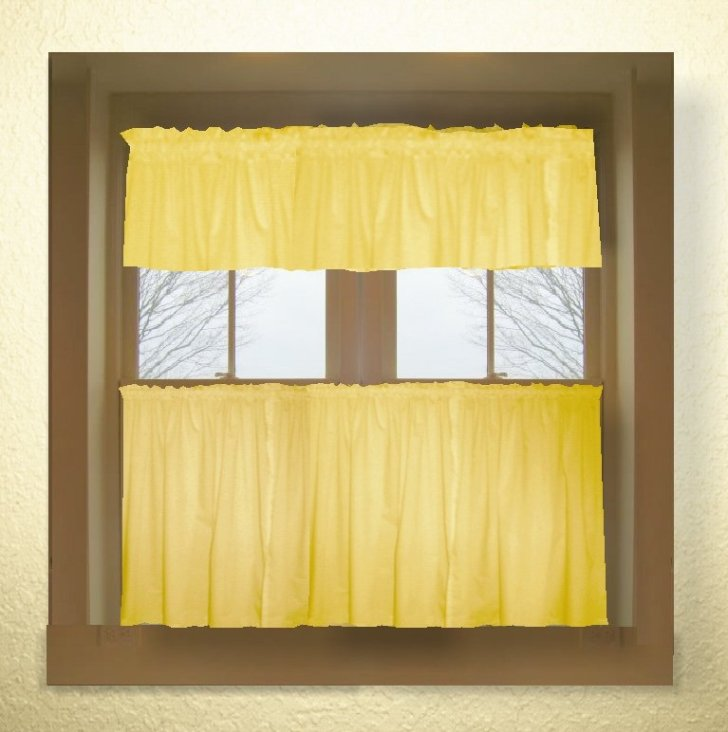 Home Curtains Solid Golden Yellow Colored Kitchen Curtain Only