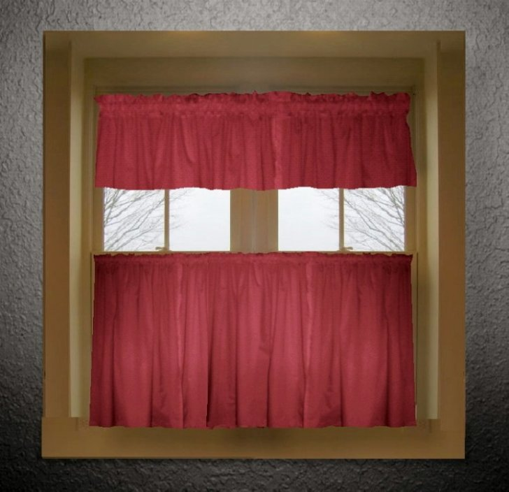 Home Curtains Solid Red Colored Kitchen Curtain Only Valance