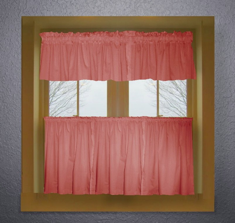 Rose Color Tier Kitchen Curtain Two Panel Set