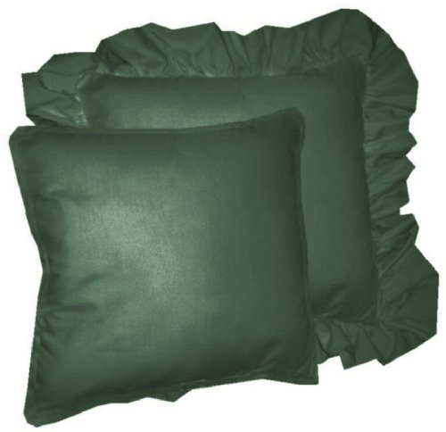 Solid Hunter Green Colored Accent Pillow With Removable Ruffled Or Corded Edge In 16x16 Or 18x18