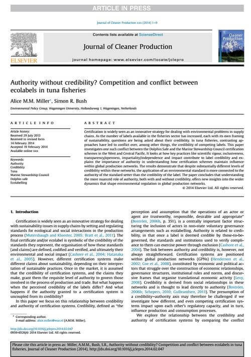 Authority without credibility? Competition and conflict between ecolabels in tuna fisheries