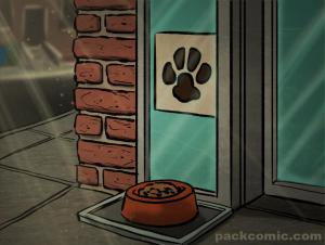 Brooklyn Sunday Newsprint Photo of PACK paw Print sign in a bodega window with a bowl of dog food set out front