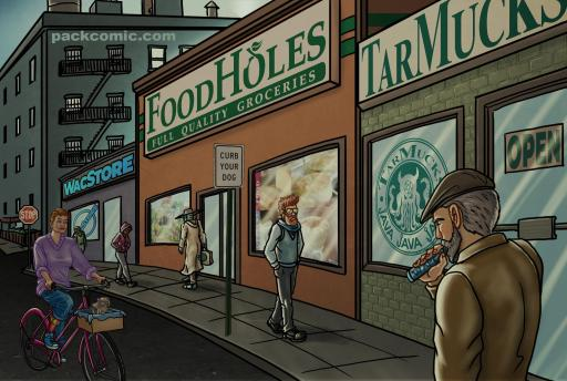 illustration of TarMucks corporate coffee franchise and foodholes corporate grocery store franchise in a rapidly gentrifying brooklyn neighborhood