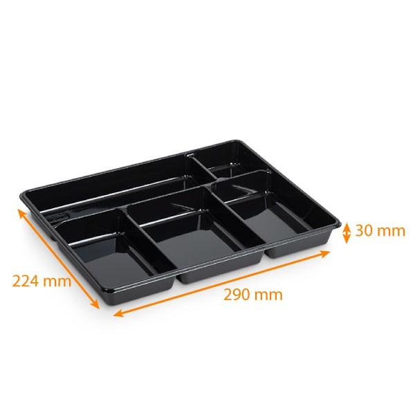 plateau repas jetable 5 compartiments noir 290x224x30mm carton de 200