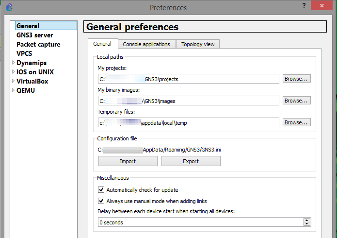 GNS3 General Preferences