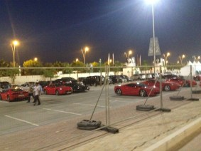 Ferraris parked on the circuit