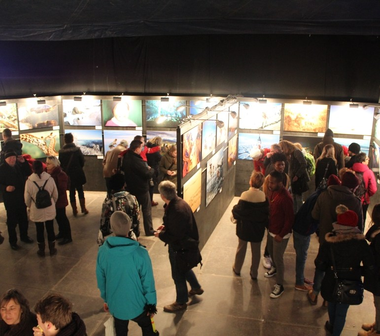 Tent with presentations and exhibitions