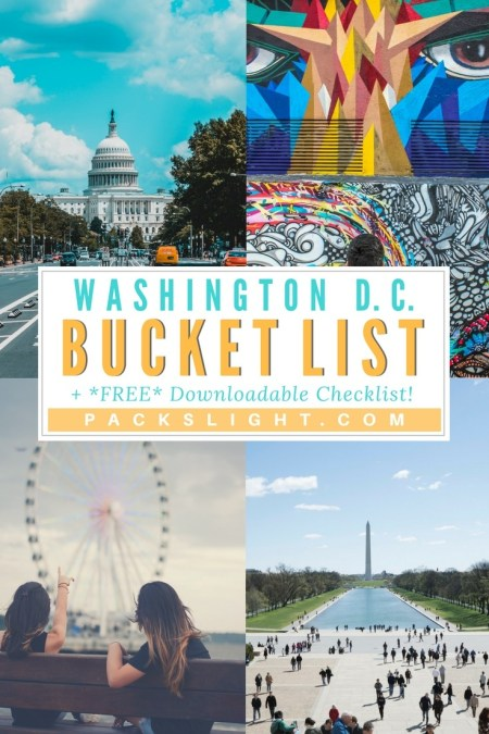Click through to see a bucket list of 74 ideas for exploring and experiencing Washington DC! AND, download your own blank, fillable pdf of the bucket list for your next trip!