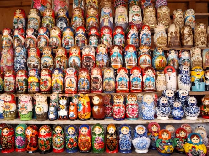 Rows of Russian dolls at a market