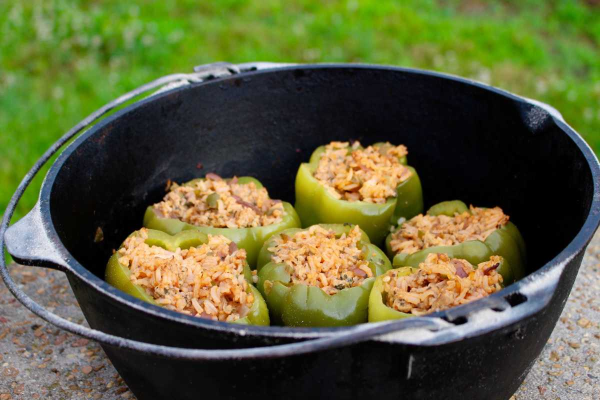 Stuffed Bell Peppers- the perfect camping meal
