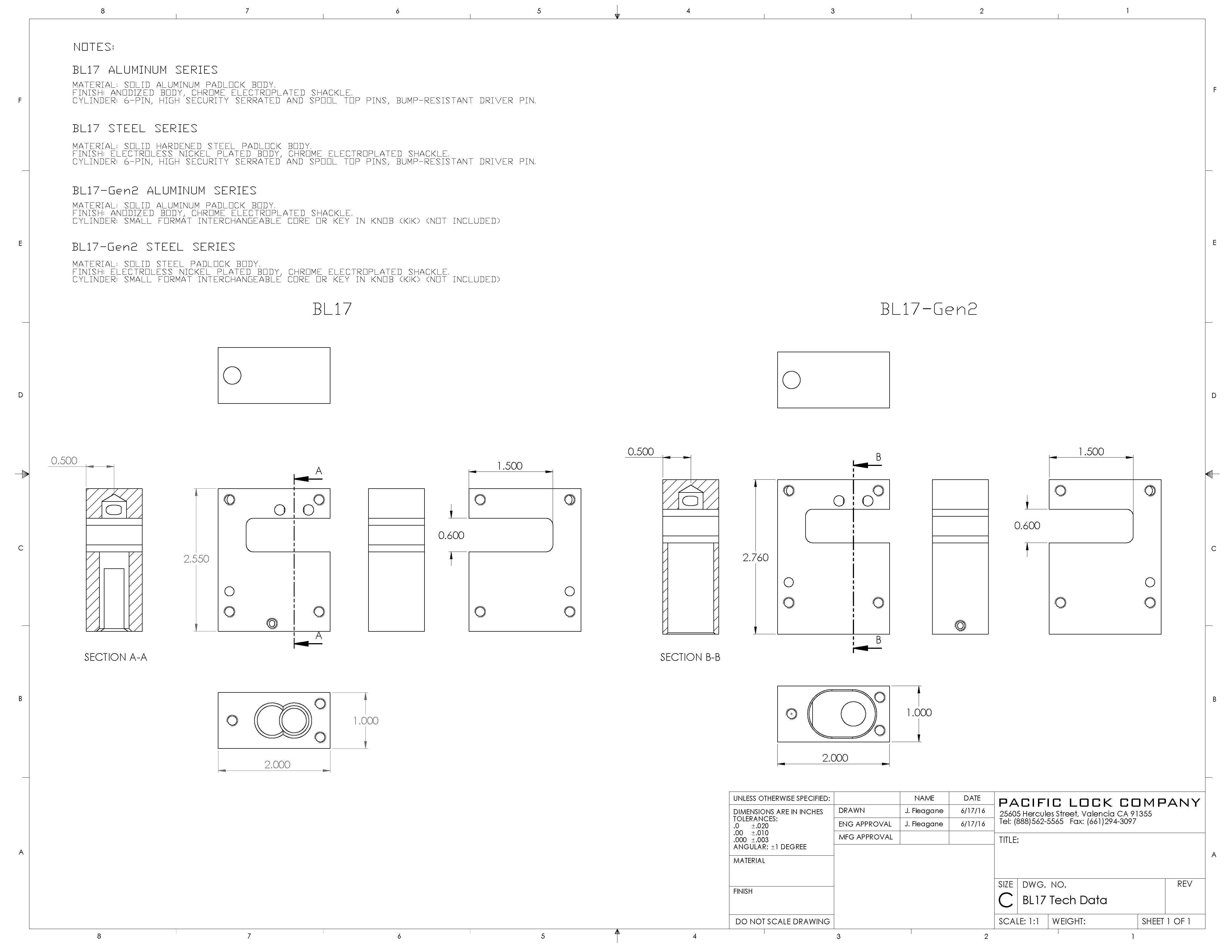 PACLOCK BL Series Data Sheet
