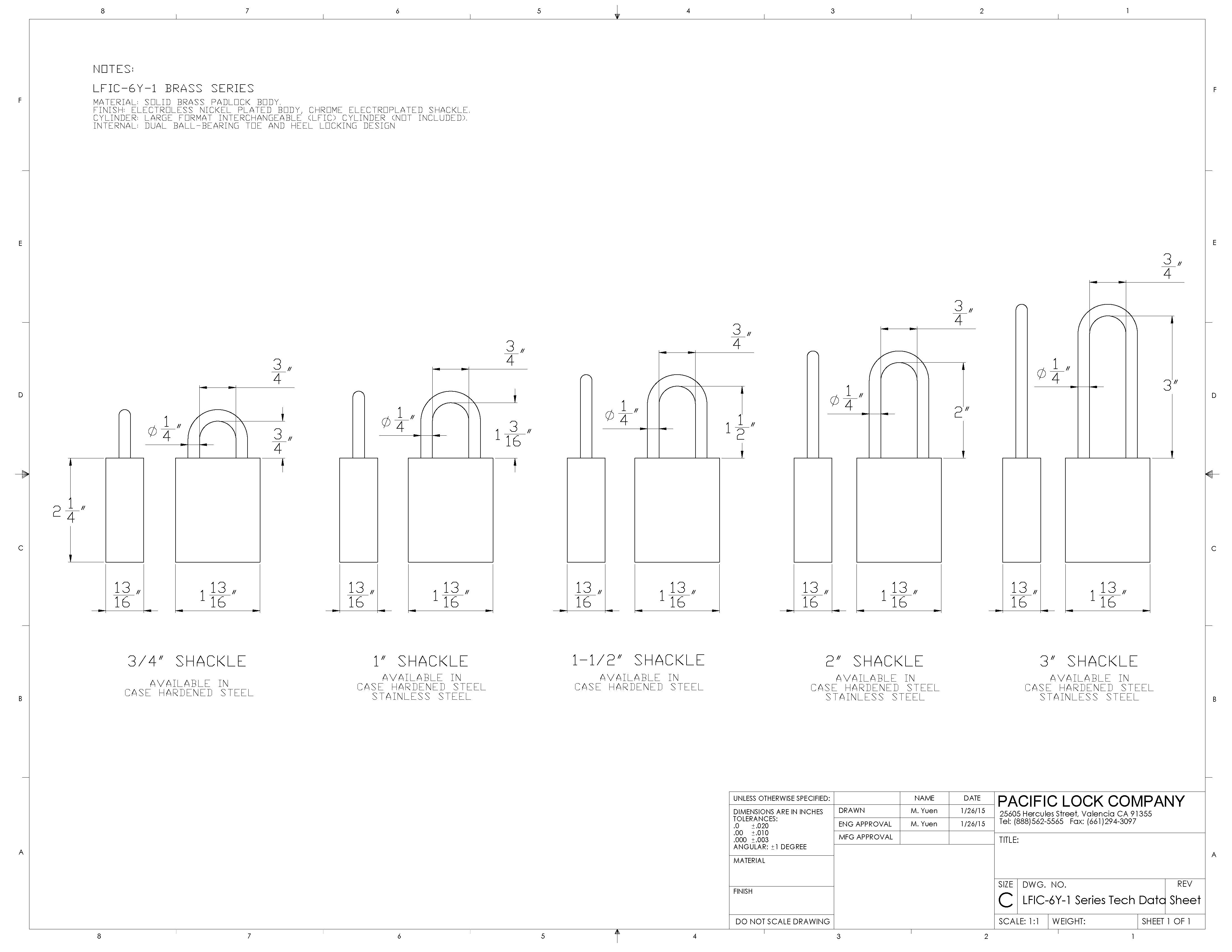 PACLOCK LFIC-Y6-1 Series Data Sheet