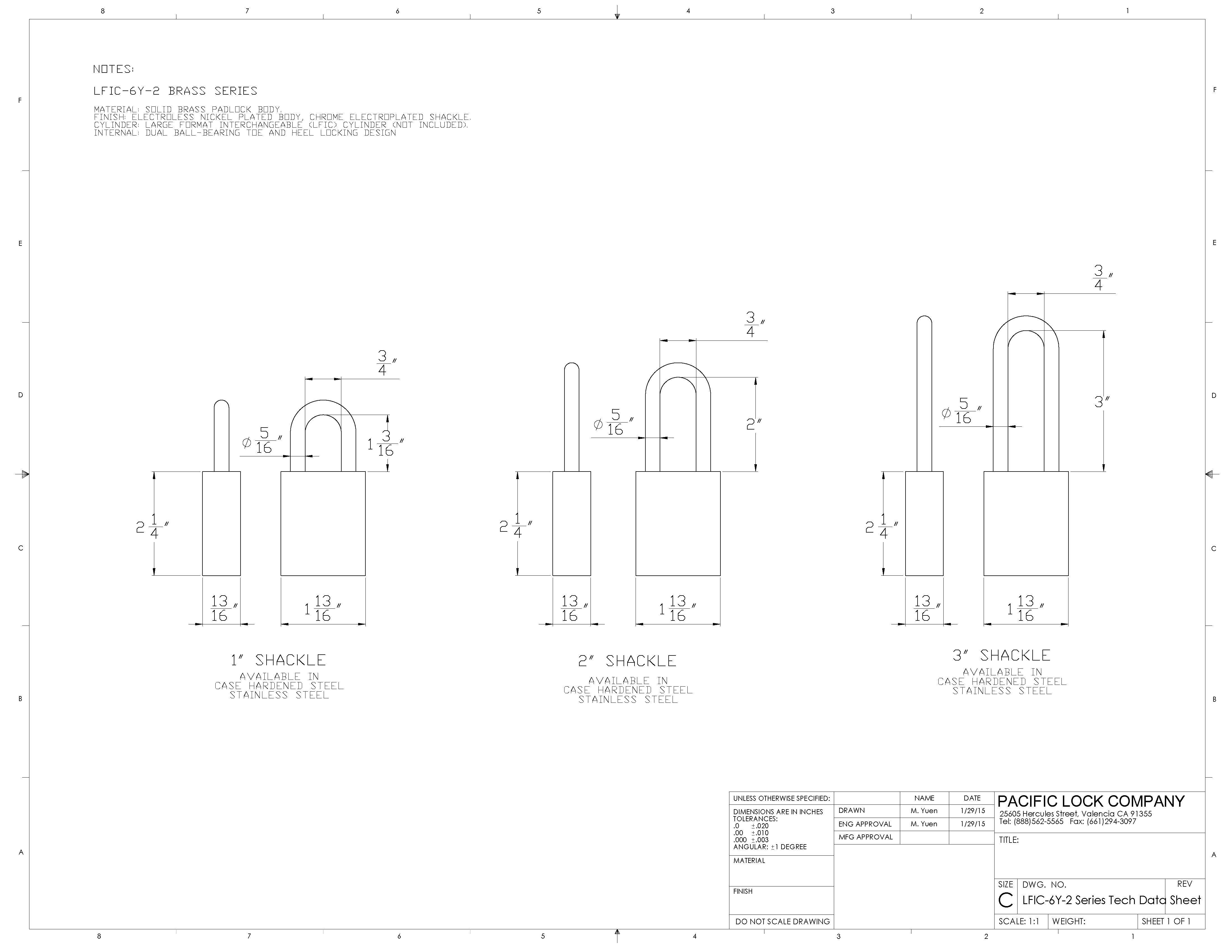 PACLOCK LFIC-Y6-2 Series Data Sheet