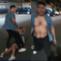 Joven intenta auxilar a mujer agredida por sujeto, pero también es golpeado #VIDEO