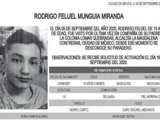 #AlertaAmber Rodrigo desapareció en Magdalena Contreras
