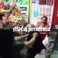 Harto de que pareja le robe, dueño de tienda responde con golpes #VIDEO