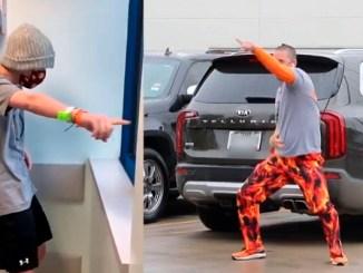 Papá baila en estacionamiento de hospital para animar a su hijo que recibe quimioterapia #VIDEO