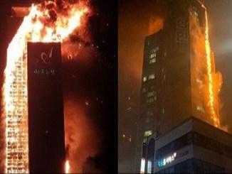 Se incendia edificio de 33 pisos en Corea del Sur #VIDEO