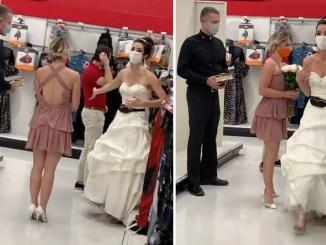 Con cura y vestido de novia, una mujer le marca ultimátum a su prometido #VIDEO
