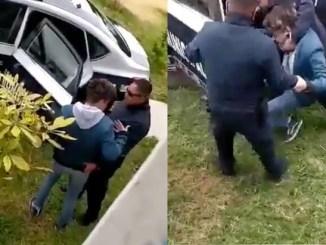 Elementos de la policía de Ecatepec intentan subir a un joven a la fuerza y sin motivo #VIDEO