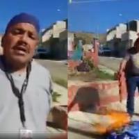 Tras no ser vacunado contra el Covid, camillero renuncia y quema su uniforme #VIDEO