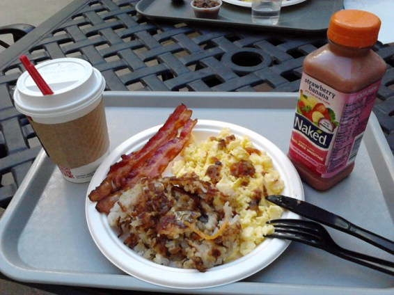 My scrambles eggs, hash browns and bacon