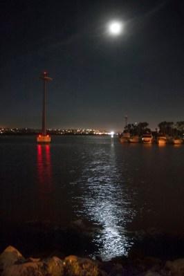 Post-lecture moonlit bay shot