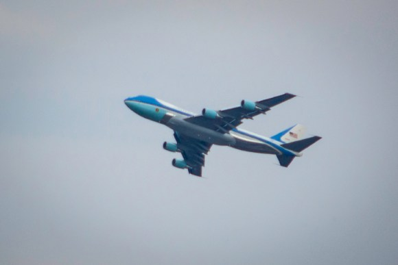 Air Force One with President Obama onboard