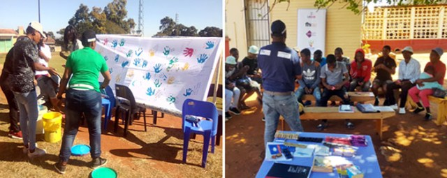 At left, HOOP hosts a unity art activity. At right, a HOOP program officer addresses a community meeting in the Lubumbo region.