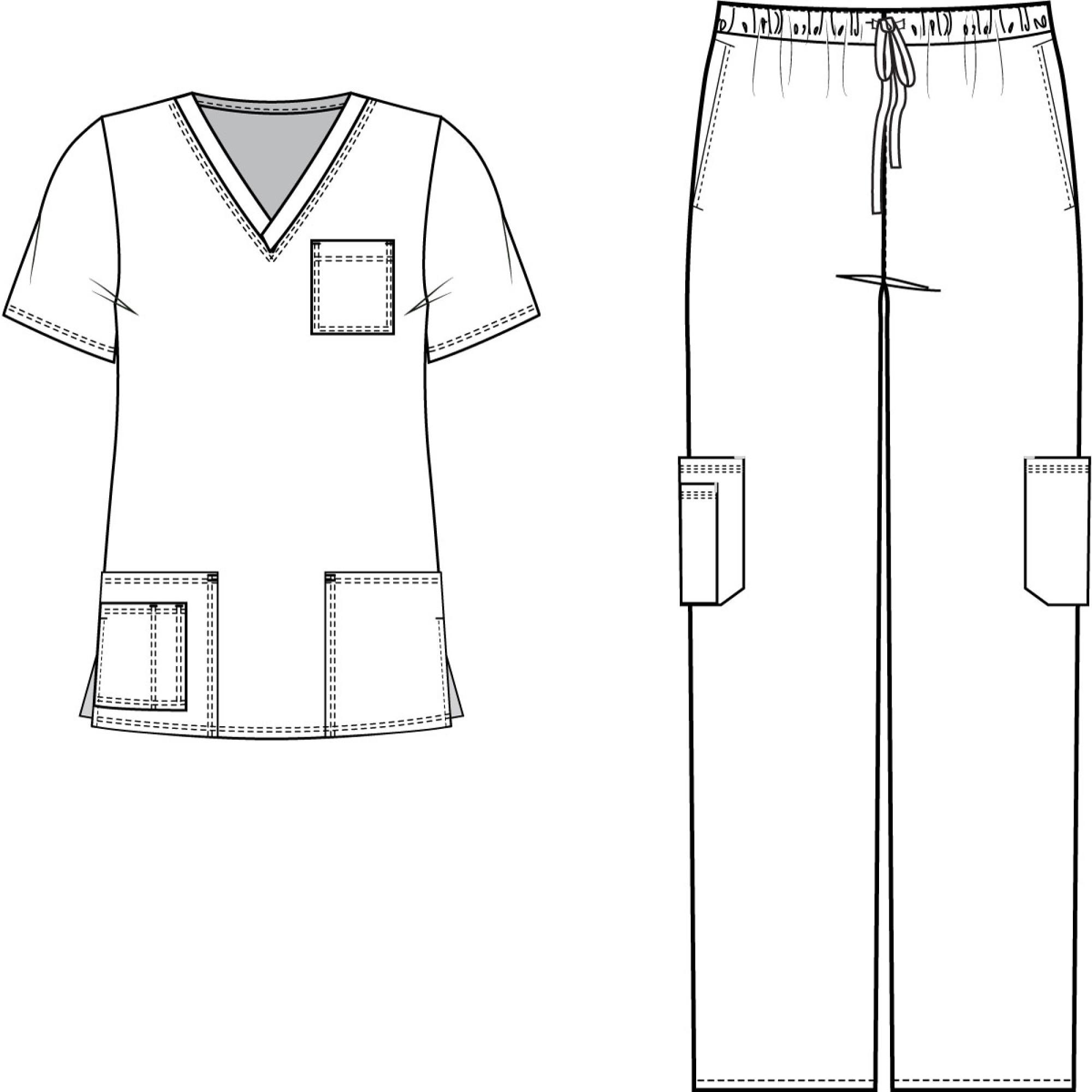 Medgear Scrubs Set Multi Pocket Top Amp Pants Eversoft