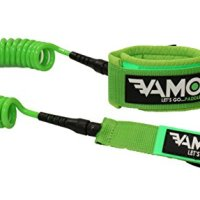 VAMO GREEN 10' SUP COILED LEASH FOR PADDLEBOARDING