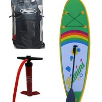 Bimini H2O Inflatable Kids Stand Up Paddle Board Kit with SUP and Rash Guard , 9-Feet X 4-Inch Thick