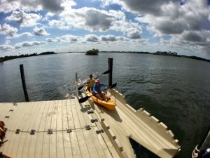 Using the kayak launch with a tandem kayak