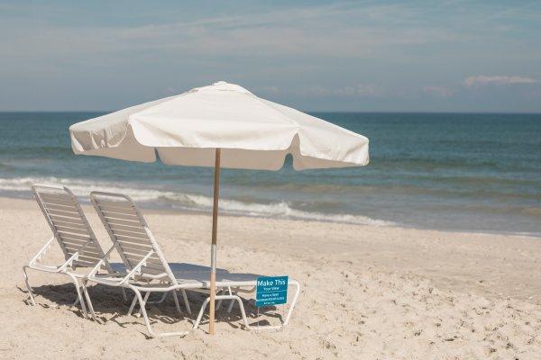 Beach Lounge Chair and Umbrella