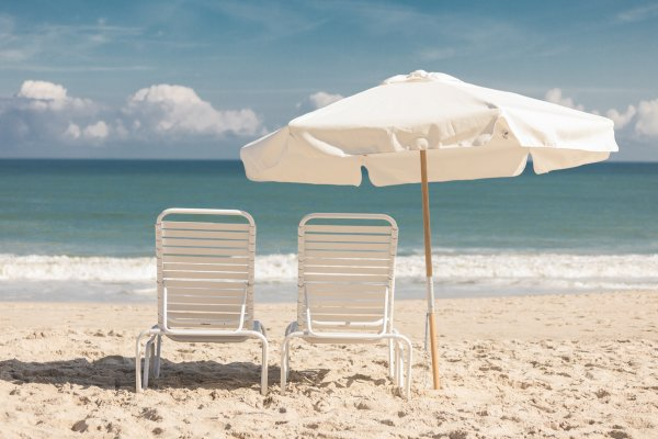 Beach Lounge Chairs and Umbrella